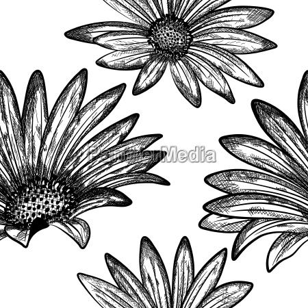 doodle floral seamless vector pattern