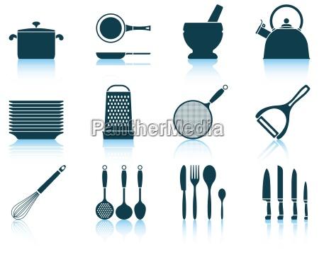 set kitchen utensil icon
