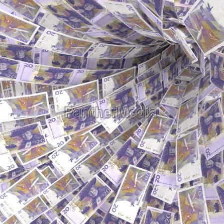 money vortex of 20 swedish kronor