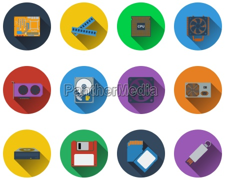 set of computer hardware icons in