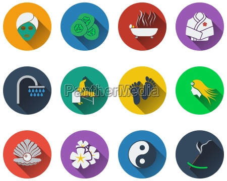 set of spa icons in flat