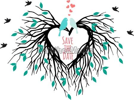 heart wedding tree with birds vector