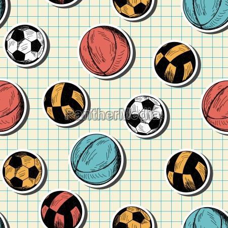 seamless pattern with hand drawn different