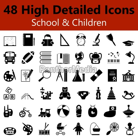 school and children smooth icons