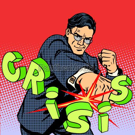 super businessman hero against crisis business