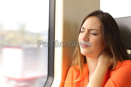 stressed woman with neck ache in