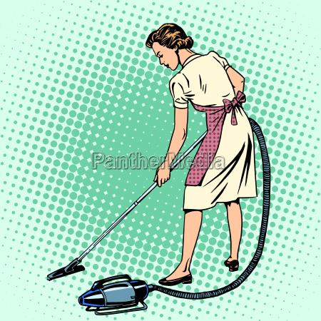 woman vacuuming the room housewife housework