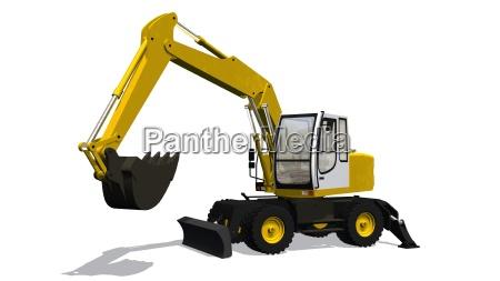 excavators construction isloliert on a