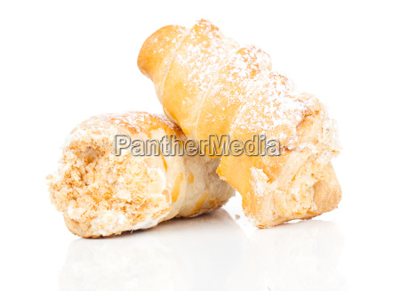 puff pastry rolls with cream on