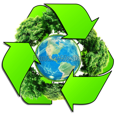 recycle logo with tree and earth