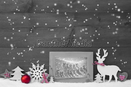 gray background snowflakes frame merry christmas