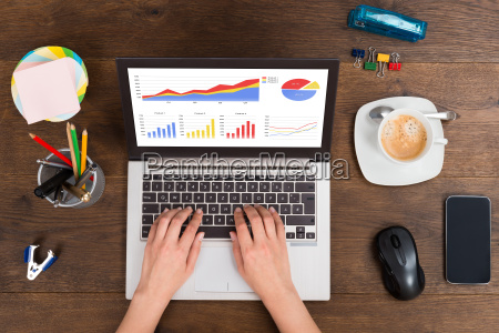 person analyzing statistical graphs on laptop