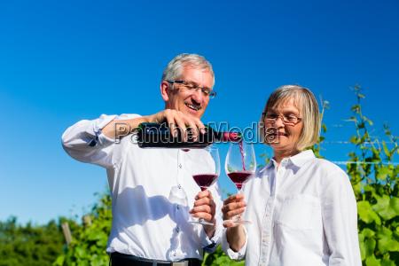 elderly couple enjoying red wine outdoors