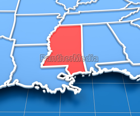 3d render of usa map with