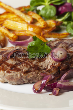 beef steak with french fries