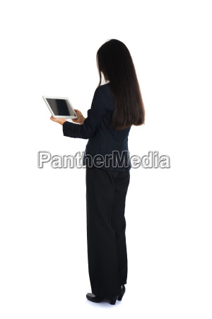 asian female business on laptop