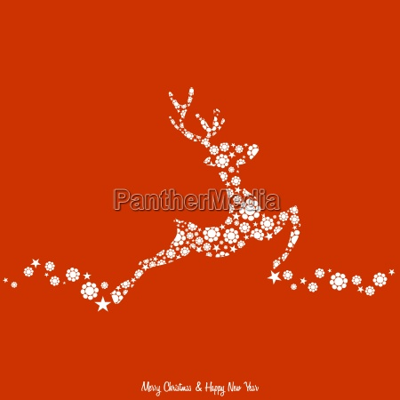 christmas background with reindeer decorated vintage