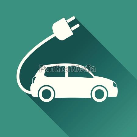 electric car flat design icon