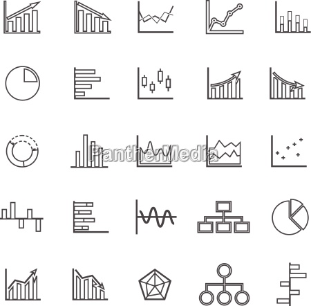 graph line icons on white background