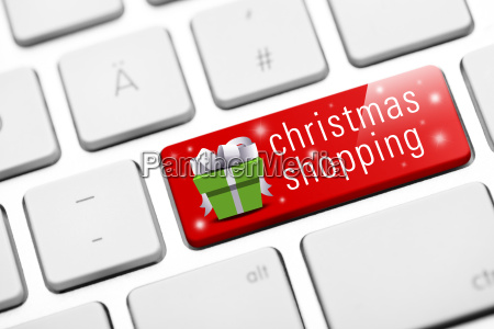 christmas shopping keyboard with gift icon