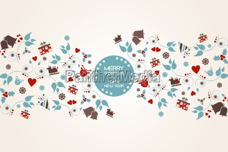 vintage christmas background with floral and