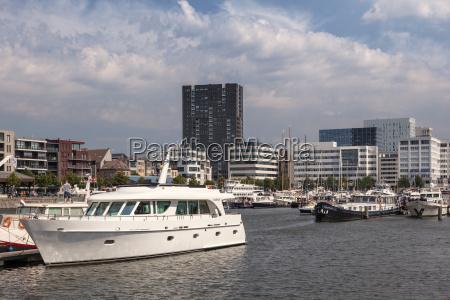 yacht in the marina of antwerp