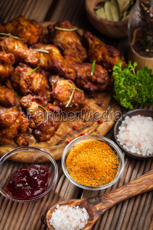 bbq chicken wings with spices and