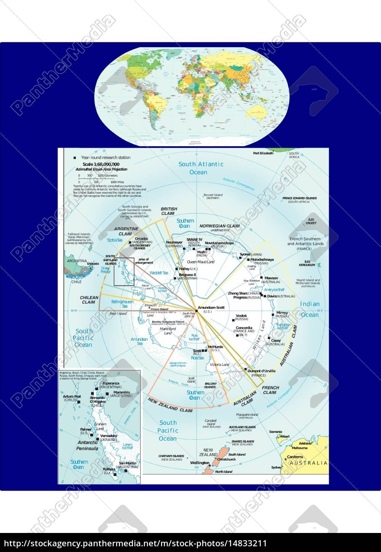 royalty free vector 14833211 - World and Antarctic region map