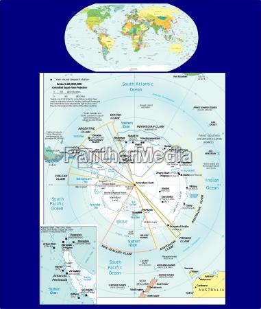 world and antarctic region map
