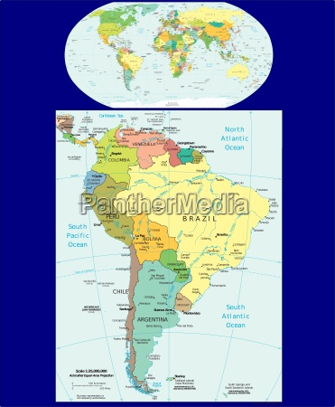 world and south america region map