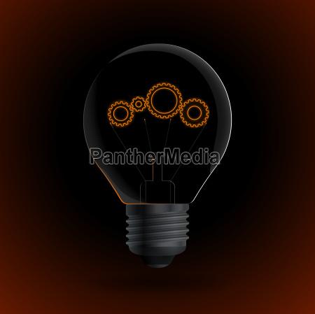 lightbulb with gear sign on a