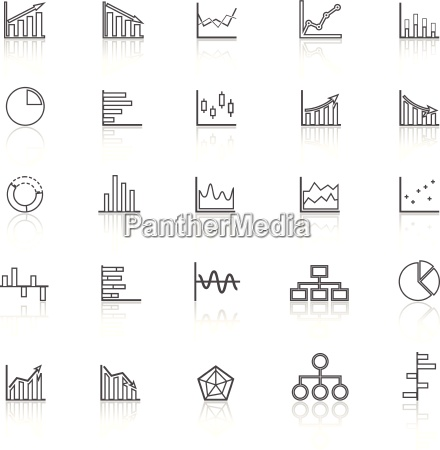 graph line icons with reflect on