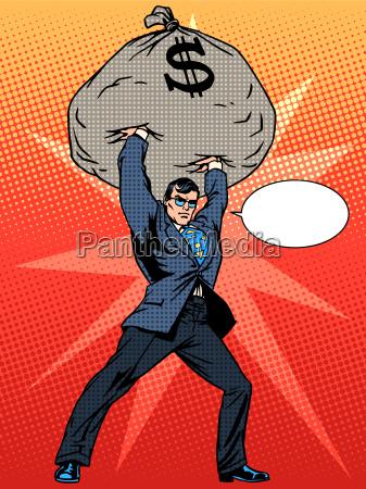 super businessman hero with a bag
