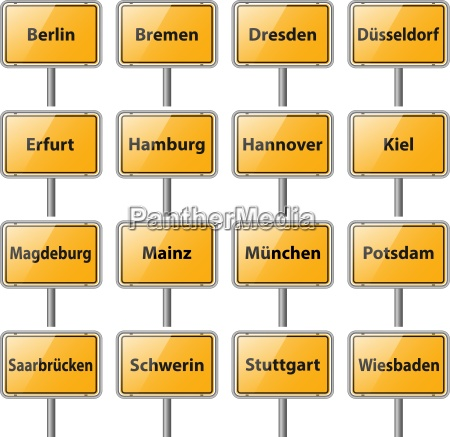 germany capitals local signs vector