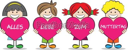 mother children vector heart