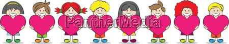 children with heart vector illustration