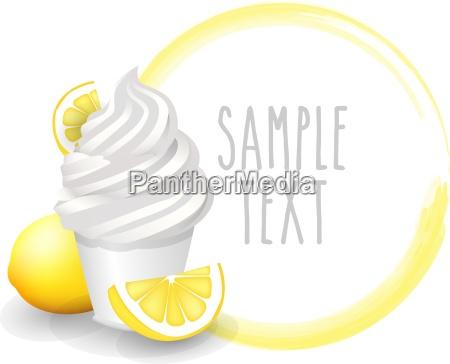 soft ice cup lemon variety vector