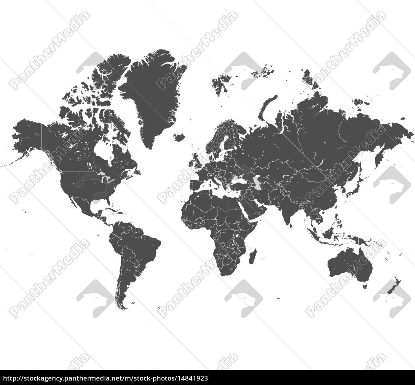 world, map, with, gray, borders, vector - 14841923