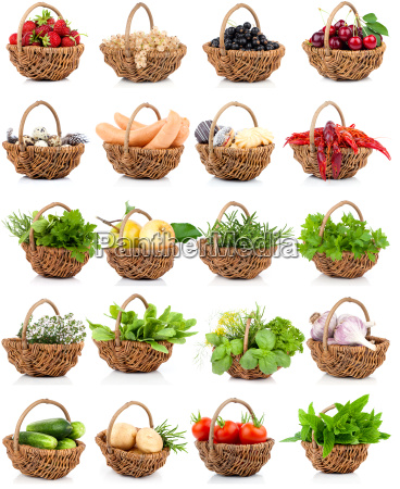various herbs and berries in a