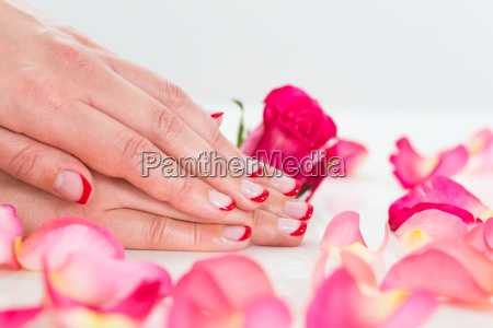 close up of woman hands with