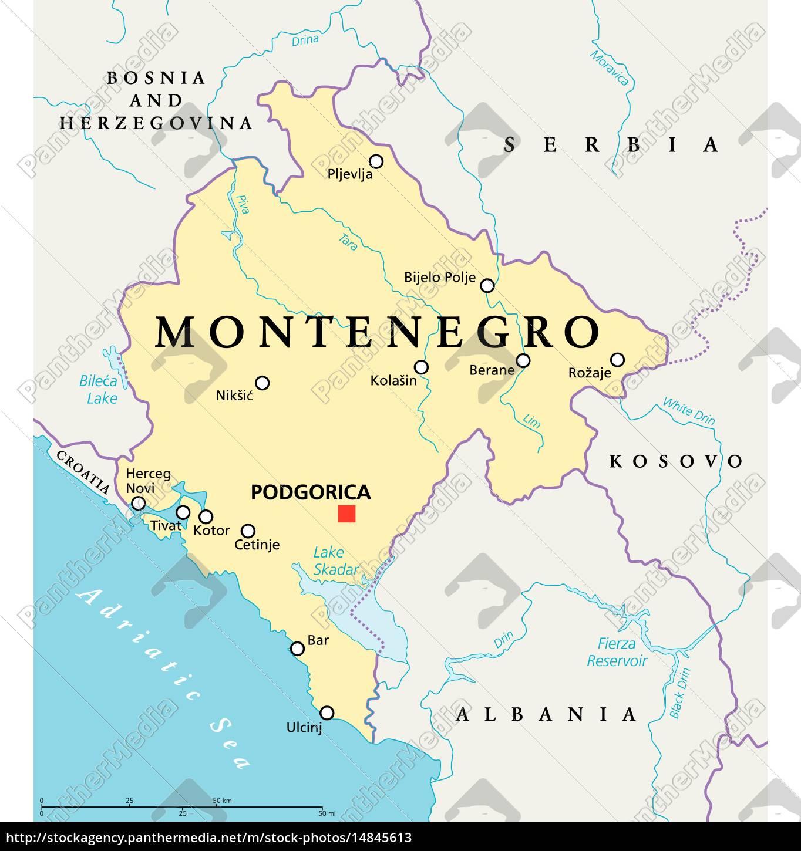 Montenegro Political Map Stock Photo 14845613 Panthermedia