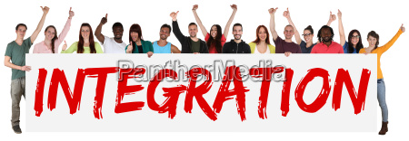 integration multicultural group of young people
