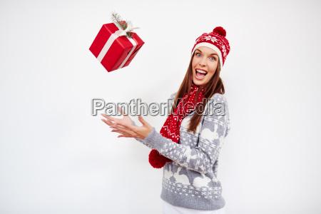 throwing christmas gift