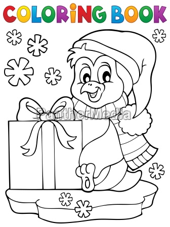 coloring book penguin with gift