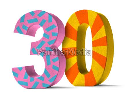 colorful number of cardboard number