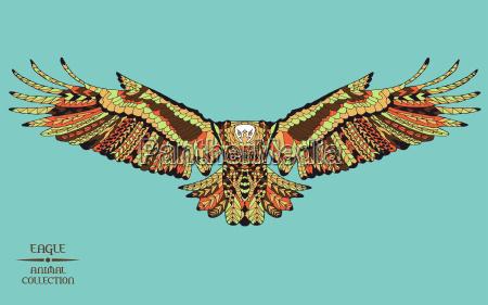 zentangle stylized eagle sketch for tattoo