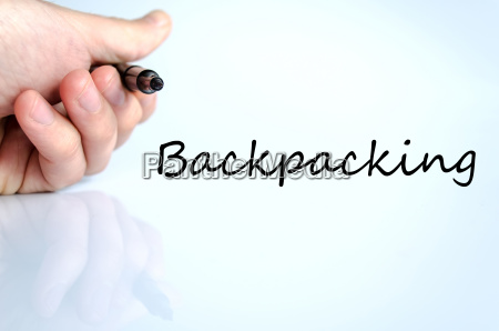 backpacking text concept