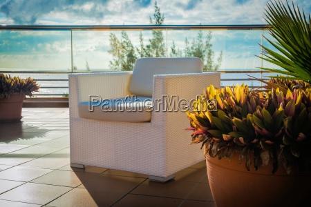 wicker on the roof terrace