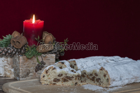 christmas stollen with christmas decoration