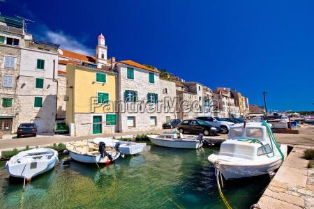 colorful sibenik old stone harbor